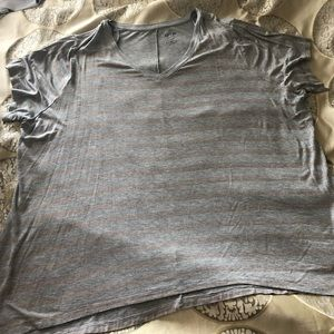 Apt 9 gray/rose gold striped shirt sleeve T-shirt